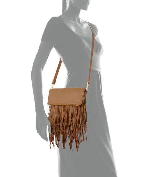 Andrew Fold-Over Fringe Clutch Bag, Camel