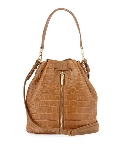 Cynnie Crocodile-Embossed Bucket Bag, Camel