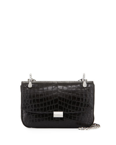 Charlie Crocodile-Embossed Shoulder Bag, Black