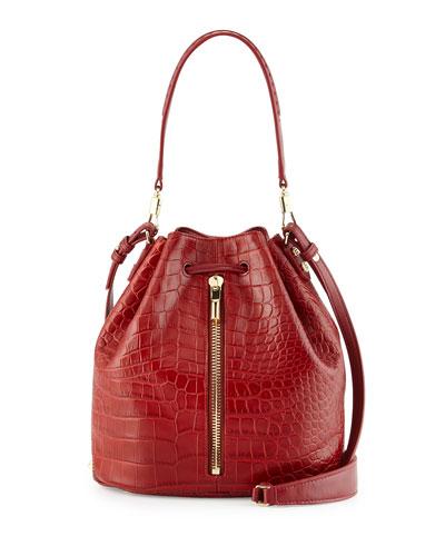 Cynnie Crocodile-Embossed Bucket Bag, Adzuki Bean