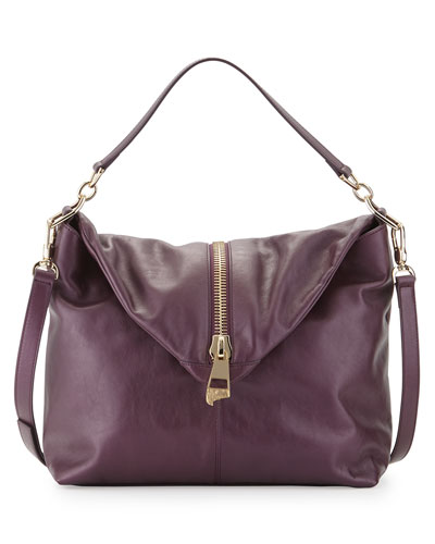 Pearl Leather Shoulder Bag, Dark Purple/Brown