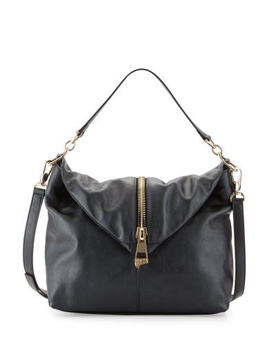 Pearl Leather Shoulder Bag, Black