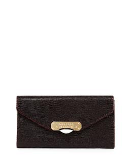 Stamped Leather Wallet, Bordeaux/Black