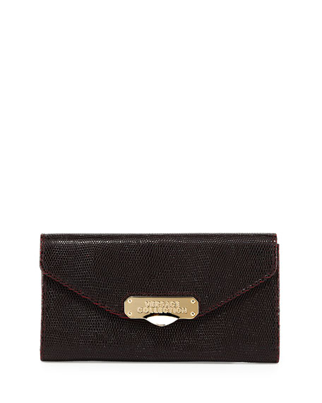 Versace Stamped Leather Wallet, Bordeaux/Black