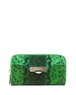 Embossed Leather Zip-Around Wallet, Green