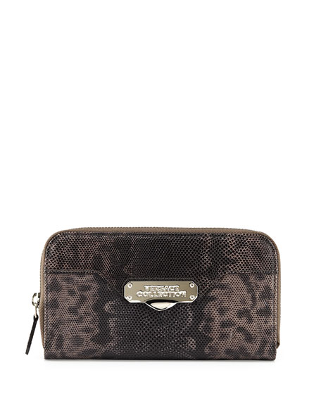 Versace Embossed-Leather Zip-Around Wallet, Gray