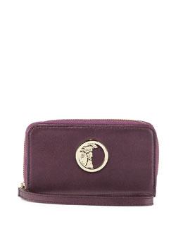 Pearl Leather Zip-Around Wallet, Dark Purple/Brown