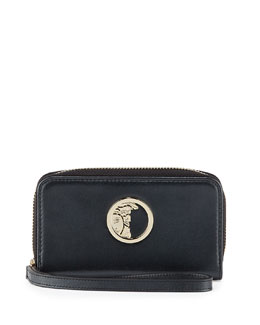Pearl Leather Zip Around Wallet, Black