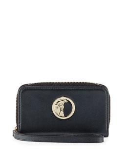 Pearl Leather Zip Around Wallet, Black