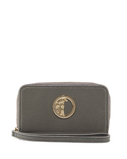 Pebbled Leather Zip-Around Wallet, Gray