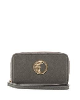 Pebbled Leather Zip-Around Wallet, Gray