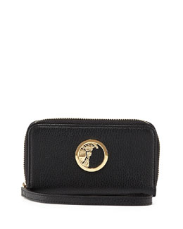 Pebbled Leather Zip-Around Wallet, Black