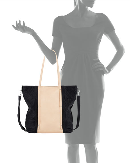 Afterglow Faux-Leather Tote Bag, Black/Nude