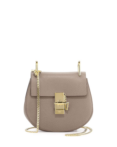 Drew Mini Lambskin Shoulder Bag, Gray