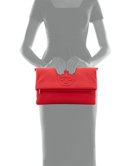 Bombe Fold-Over Clutch Bag, Brilliant Red