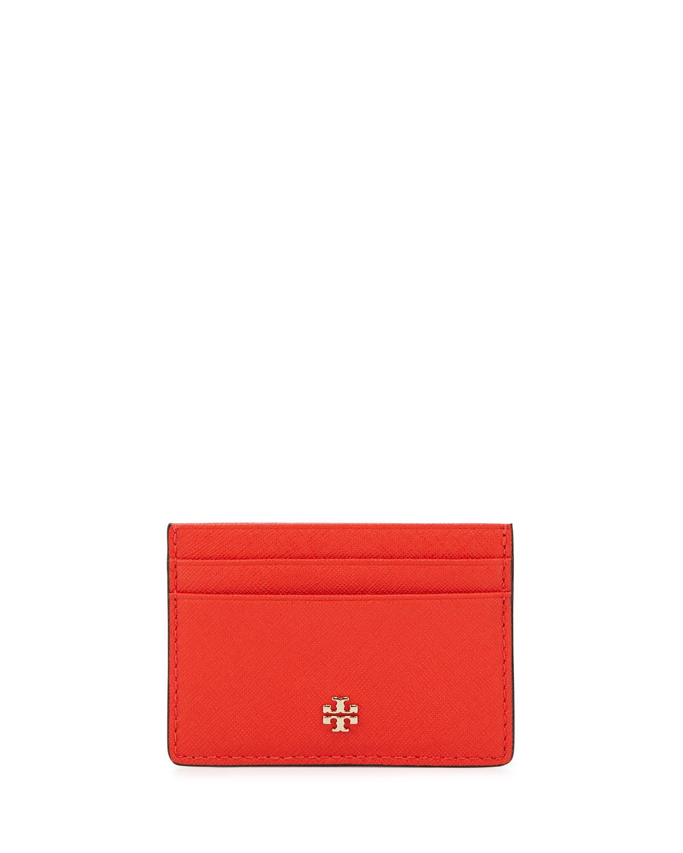 Tory Burch Robinson Slim Card Case, Poppy Red | Neiman Marcus