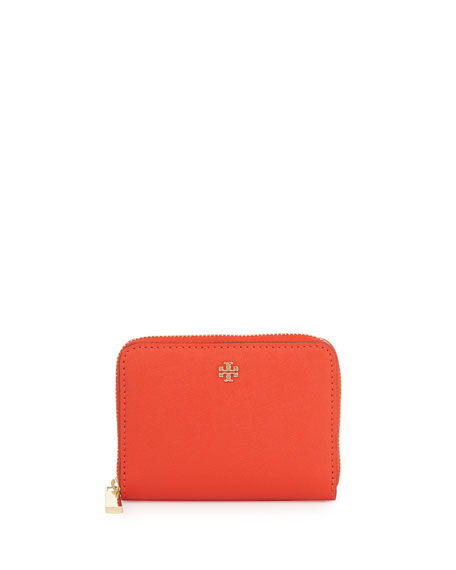 Tory Burch Robinson Zip Coin Case, Poppy Red