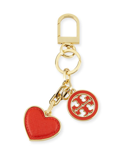 Logo & Heart Charm Key Fob, Poppy Red
