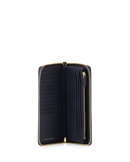 York Zip Passport Continental Wristlet Wallet, Tory Navy