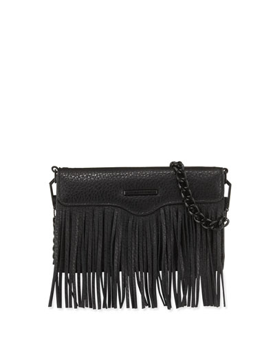 Universal Fringe Leather Crossbody Bag, Black