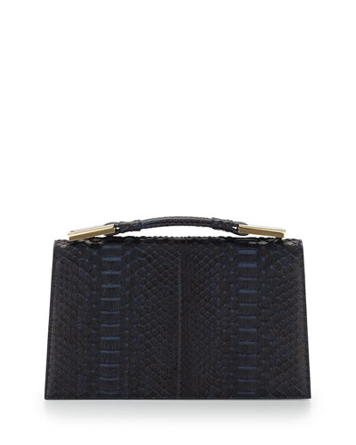Charlotte Origami Python & Leather Evening Clutch Bag, Navy