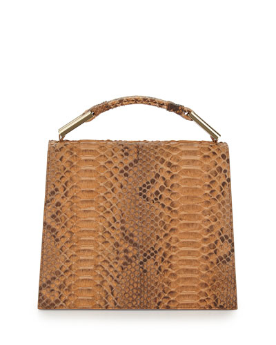 Charlotte Origami Python & Leather Handbag, Luggage