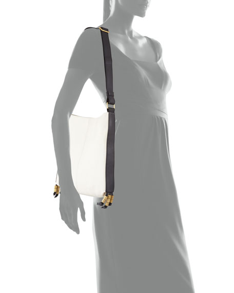 Image 3 of 3: Bayard Two-Tone Leather Shoulder Bag, Delivery/Noir