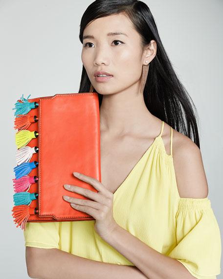 Sofia Leather Tassel Clutch Bag, Poppy Red