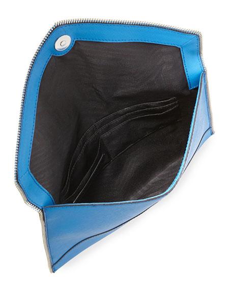 Leo Saffiano Envelope Clutch Bag, Denim Blue