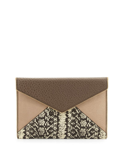 Leo Mixed-Media Envelope Clutch Bag, Taupe Multi