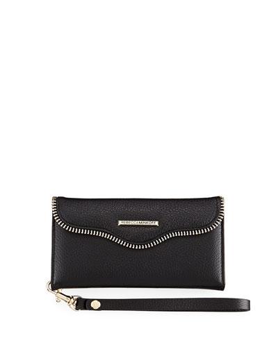 Leather Folio Wristlet Wallet/Smartphone Case, Black