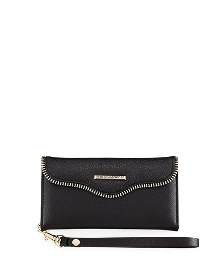 Rebecca Minkoff Leather Folio Wristlet Wallet/Smartphone Case,