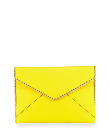 Leo Saffiano Zip-Trim Clutch Bag, Sunshine
