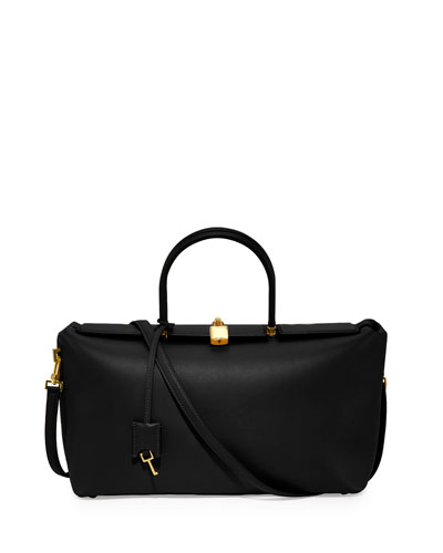 India Medium Leather Satchel Bag, Black