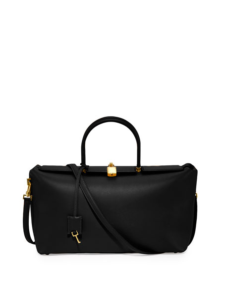 TOM FORD India Medium Leather Satchel Bag, Black
