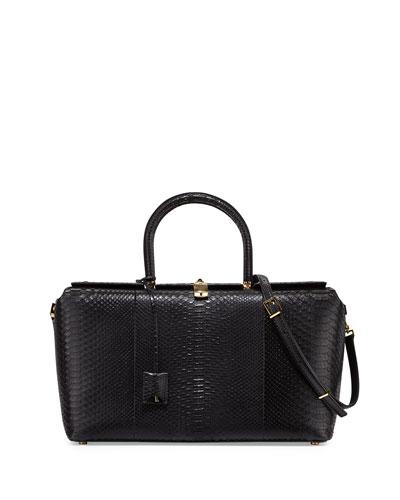 India Large Python Satchel Bag, Black