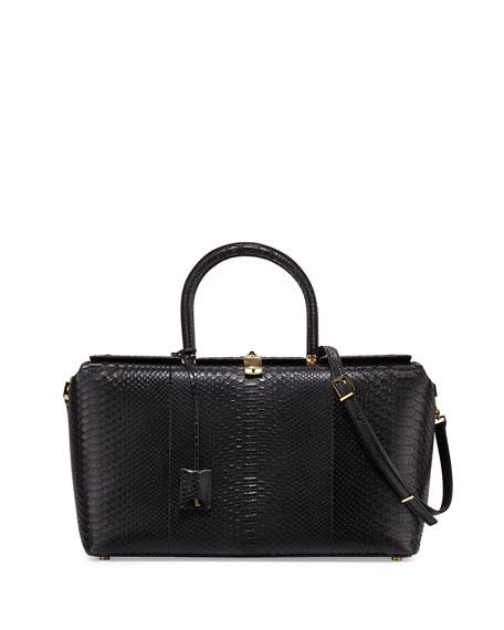 TOM FORD India Large Python Satchel Bag, Black