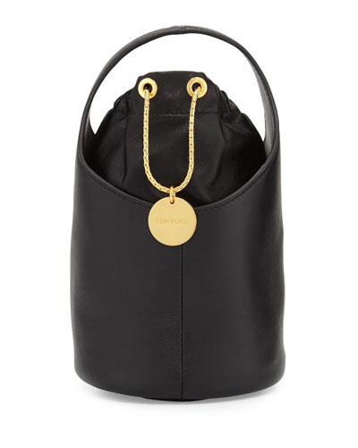 Miranda Micro Leather Bucket Bag, Black