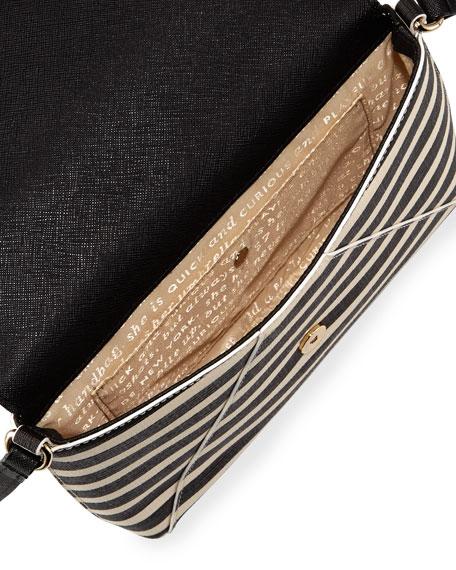 068716388 kate spade new york fairmount square monday large striped crossbody bag,  black/sandy beach