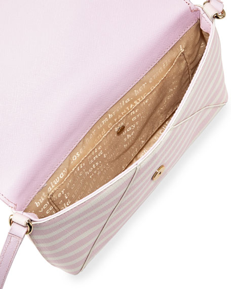 fairmount square monday large striped crossbody bag, pink blush/sandy beach