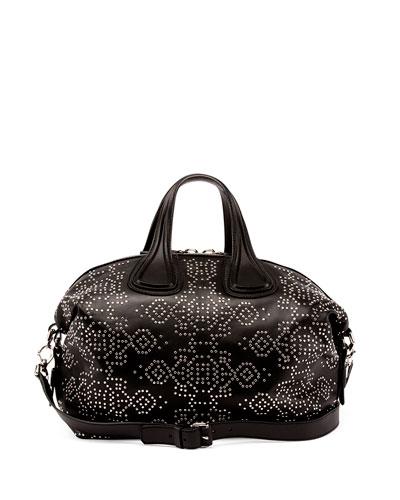 Nightingale Studded Carpet-Pattern Satchel Bag, Black