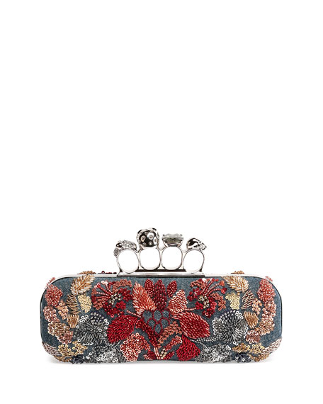 Knuckle Duster Denim Box Clutch Bag w/Floral Embroidery