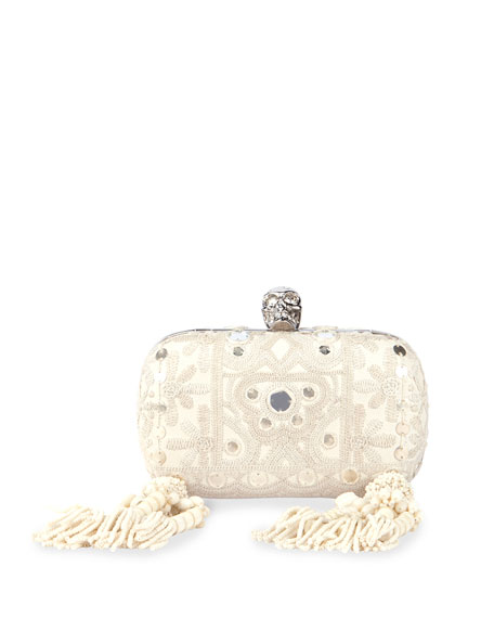 Classic Embroidered Skull Clutch Bag w/Strap, White