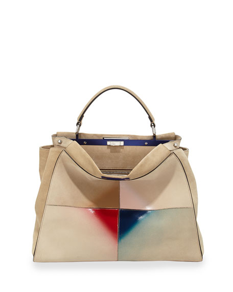 Fendi Peekaboo Large Satchel Bag, Nude Multi