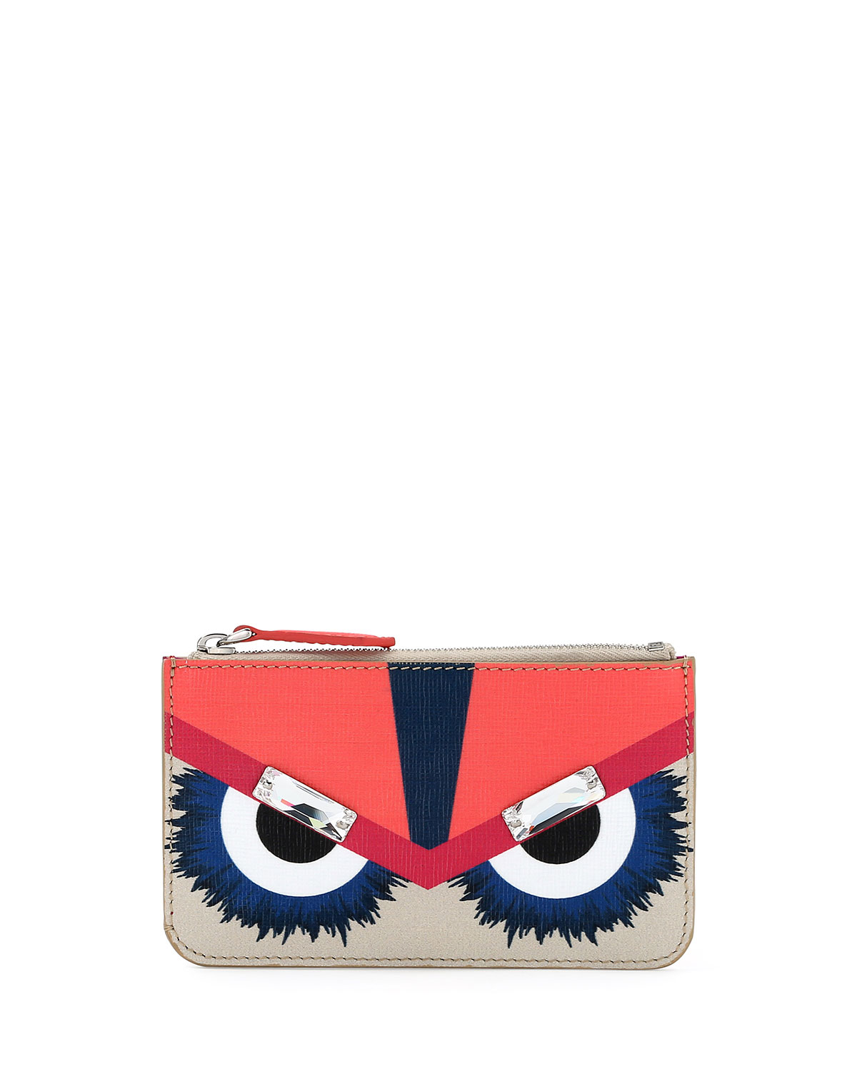 f4f5c4156700 Fendi Monster Leather Key Ring Pouch