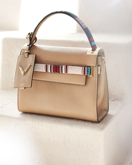 My Rockstud Small Beaded Satchel Bag, Beige