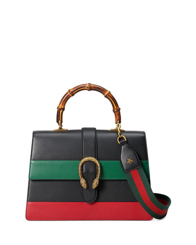 Dionysus Striped Bamboo Top-Handle Bag, Black/Green/Red