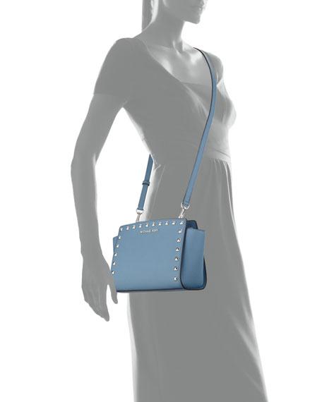 Selma Stud Medium Top-Zip Messenger Bag, Sky