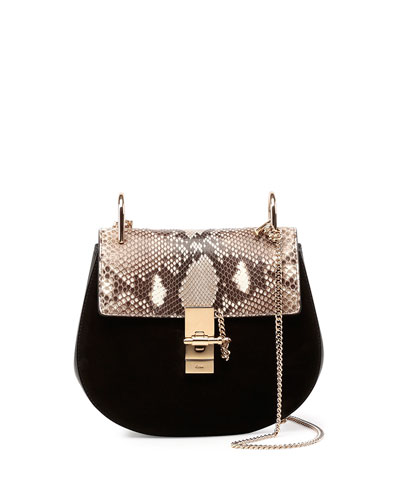 Drew Small Python-Pattern/Suede Shoulder Bag, Black