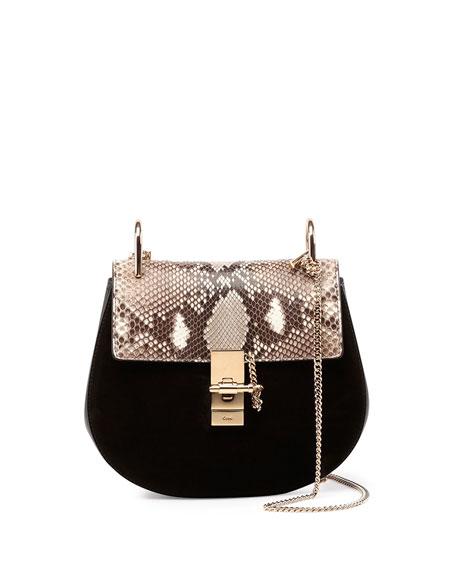 Drew Small Python-Pattern/Suede Shoulder Bag, Black